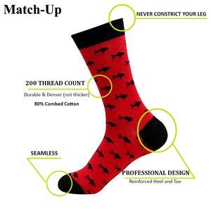 Image 2 - Match Up calcetines de algodón para hombre, de talla grande, de compresión de calidad, con patrón de serie de animales, calcetines de negocios para hombre (5 par/lote) US 7,5 12
