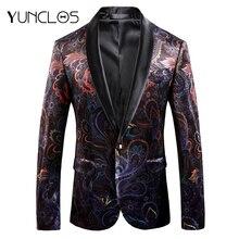 YUNCLOS, Осенний вельветовый Мужской Блейзер, тонкий, с принтом, Свадебный костюм, куртки для мужчин, высокое качество, блейзер, куртки, americana hombr