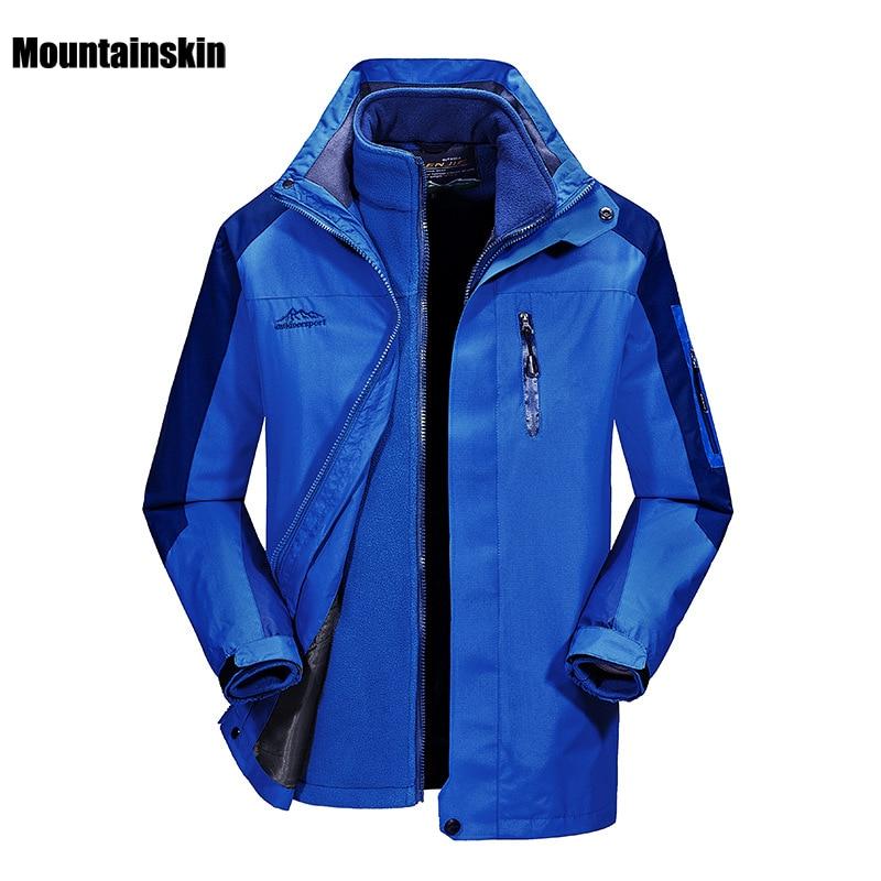 Men Women's Winter 2 pieces Fleece Waterproof Jacket Outdoor Sports Brand Coats Hiking Camping Skiing Male Female Jackets VA088