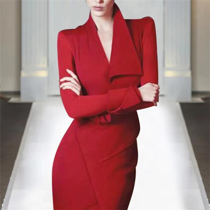 Europe et états-unis 2019 printemps star Kate Wang Hao catwalk nouveau professionnel femmes élégant mode mince robe