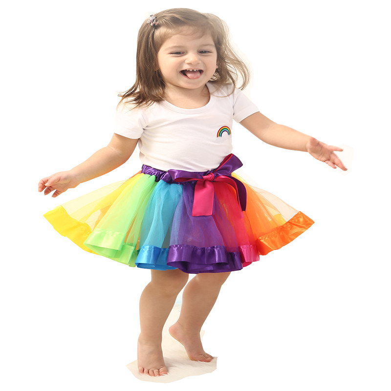 SUMMER children sets tutu skirt + cotton baby girl shirt Rainbow skirt cute toddler kids baby girls suit set tops denim new hot sail 2015 children girl chiffon top skirt set baby pettiskirt tutu top girls tutu skirt free shipping