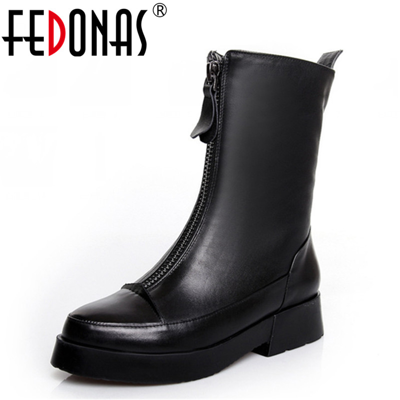FEDONAS Brand Women Front Zipper Boots Female Autumn Winter Shoes Woman Fashion Genuine Leather Mid-calf Motorcycle Boots Black rome style cool designed woman motorcycle boots winter autumn women flats boots top quality mid calf boots shoes free shipping