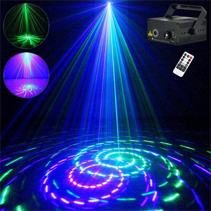 AUCD 12 Big Patterns GB Remote Laser Projector Lights 3W Blue LED Mixing Effect DJ Party Home Holiday Show Stage Lighting Z12GB rg mini 3 lens 24 patterns led laser projector stage lighting effect 3w blue for dj disco party club laser