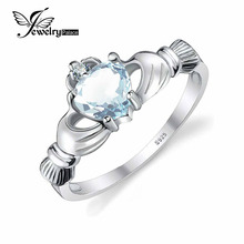 JewelryPalace Dimension Four-10 Romantic Love Coronary heart Aquamarine Marriage ceremony Ring Jewellery zero.4ct Strong 925 Sterling Silver Vogue Girls