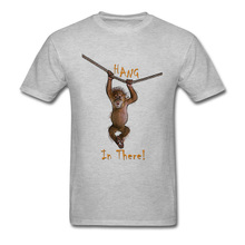 Summer Men's Funny T Shirt HANG IN THERE T-shirt Cute Monkey Printed On Mens Clothing Cotton Fabric Grey Tops Tees Cheap national geographic readers hang on monkey