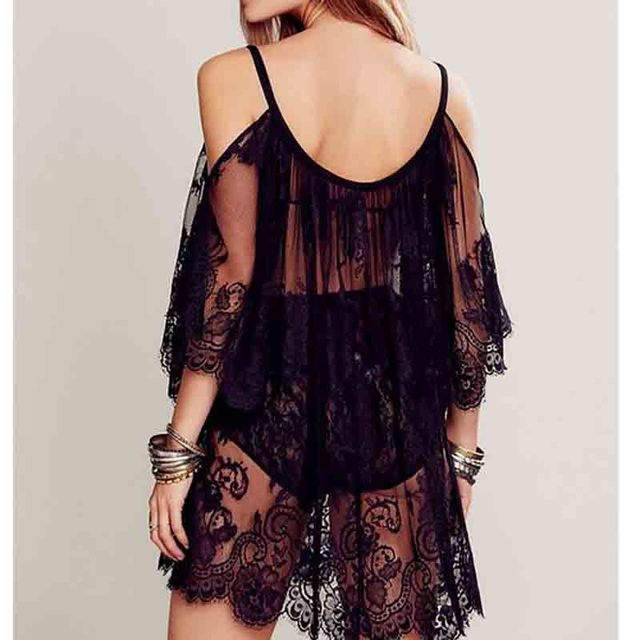 Cold-Shoulder Lace Shift 5