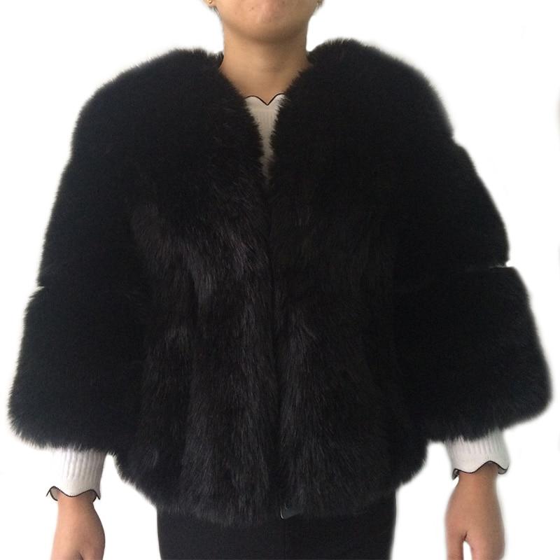 Frauen Winter Dicke Grauen Pelz Mode Faux Fuchspelz Mäntel Pelzigen Weibliche Drei viertel-hülse Künstliche Rosa Fell jacke PC237