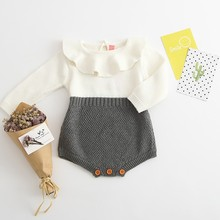 Free Shipping Toddler Girls Children Baby Girls Boys Knitted Sweater One piece Romper Infant wear Baby Clothes 2 Colors 0-3 Y