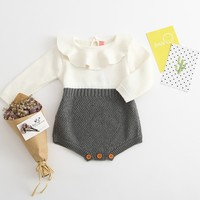 Free Shipping Toddler Girls Children Baby Girls Boys Knitted Sweater One Piece Romper Infant Wear Baby