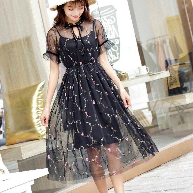 Пикантные сетчатые платья Для женщин летние Книги по искусству бутон шелковой пряжи Длинные вышивка фея платье из двух частей