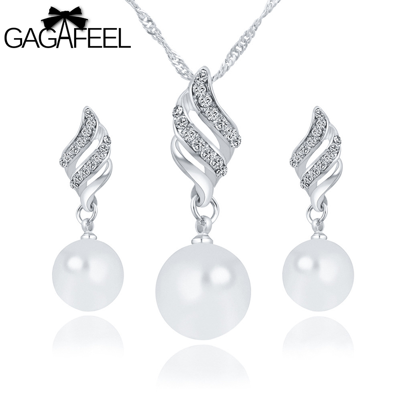 GAGAFEEL Fashion Imitation Pearl Jewelry Sets Rhinestone Gold Color Necklace Sets for Women Bridal Wedding Water Drop Earrings