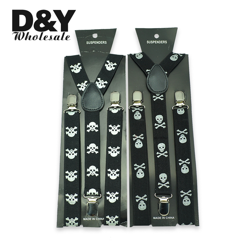 Women Men`s Unisex Clip-on Braces Elastic Slim Suspender 1inch Wide