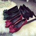 2016 spring autumn bow pointed toe flat ladies shallow mouth summer shoes work Moccasins woman flats nurse driving shoes