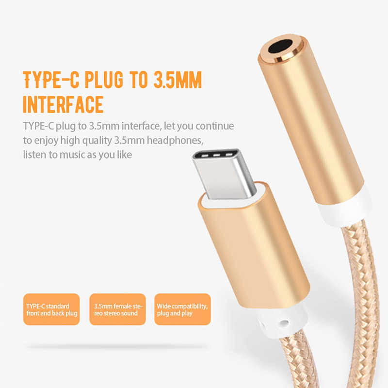 Cherie Type C To 3.5mm Headphone Jack Aux Audio Adapter For Xiaomi mi9 Samsung S10+ Huawei USB C Splitter Cable Converter Tipo C