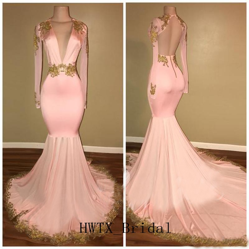 Pink Mermaid   Evening     Dress   Robe de soiree Gold Lace Abendkleider 2019 Prom   Dresses   Long Sleeve V Neck Backless   Evening   Gown