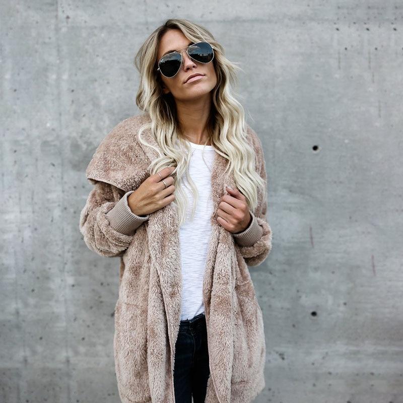 Liva Girl Ladies   Coat   Winter Fur Wram Cardigans Female Casual Slim Thicken Jackets Female Streetwear Long Outwear Plus Size 5XL