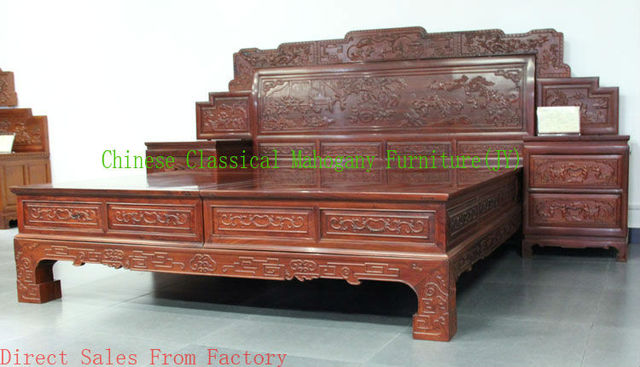Chinese classical mahogany furniture rosewood furniture Bedroom furniture  bed wood bed Chinese style Tradition Luxurious. Chinese classical mahogany furniture rosewood furniture Bedroom