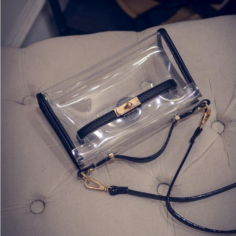 2017 Famous Brand Women Transparent Handbag High Quality Leather Messenger Bags Clear Pudding Shoulder Beach Bag Bolsa XA438H