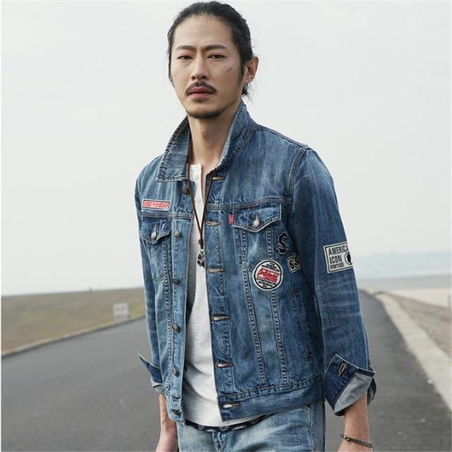 64310544db Retro Destroyed Washing Denim Jacket Men Loose Casual Jean Jackets 100%  Cotton Denim Coat Spring Autumn Brand Clothing A1645