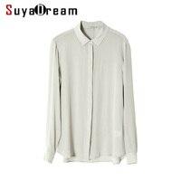 Women SILK SHIRT 23MM Heavy 100 Real Silk Button Long Sleeved Casual Top 2017 Fall Winter