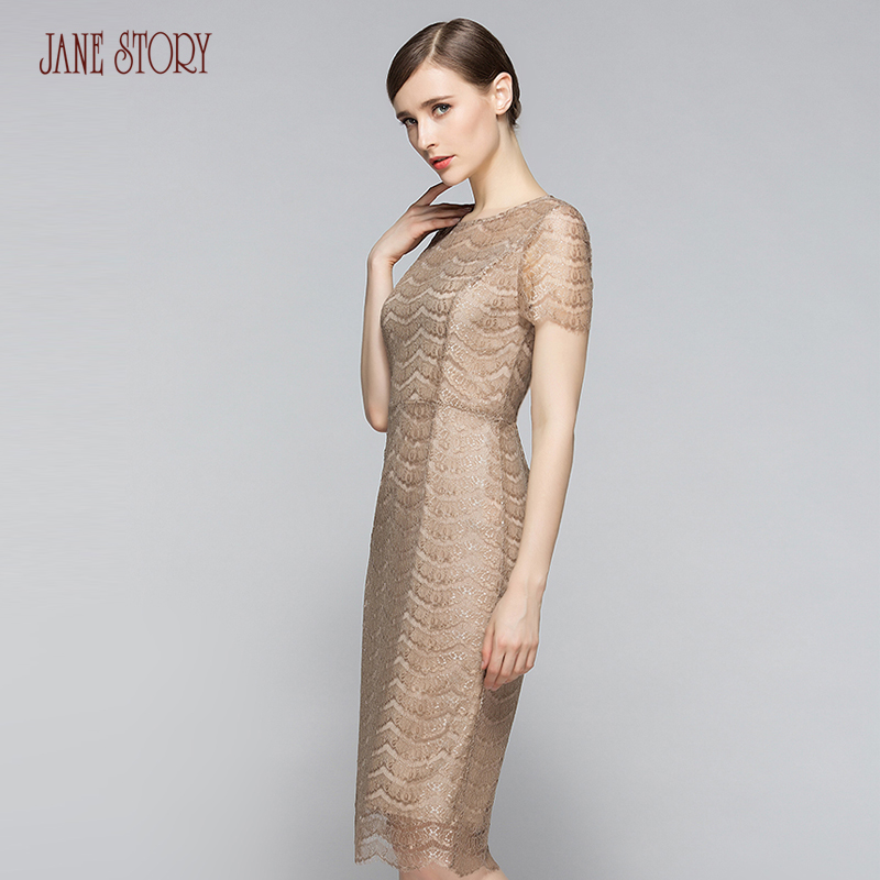 Jane Story 2017 Summer Women Lace Dress Solid Wave Elegant -2478