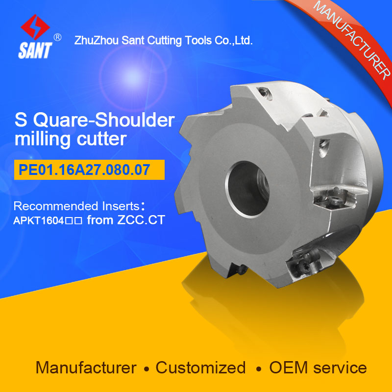 Zhuzhou Sant Indexable milling cutter with 90degree EMP02-080-A27-AP16-07/PE01.16A27.080.07 Mached carbide insert APKT160408 запонки marc sant 16 b 1101 20 e