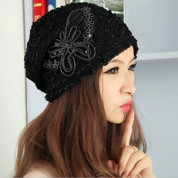 b71cbb61588f0b Sequin Bow Lace cap Autumn winter knit hats Butterfly bowknot winter hats  for women black white beanies for women hat beanie -in Skullies & Beanies  from ...