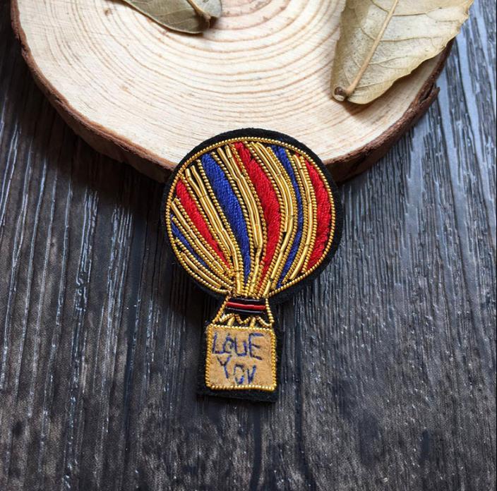 Diy Handmade Embroidered Patch: Balloon Silk Emboridered Patch Brooch India Silk Wire