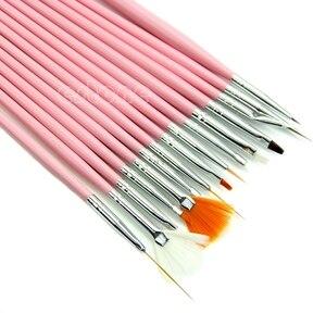 Набор кистей для нейл-арта, 15 шт., набор кистей для дизайна ногтей акриловым УФ-гелем, ручка для рисования, наконечники, набор инструментов, Н...