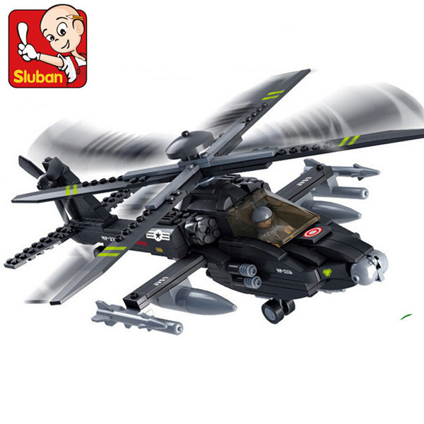 Model building kits compatible with lego city AH-64 Apache Armed helicopter 970 3D blocks Educational toys hobbies for children