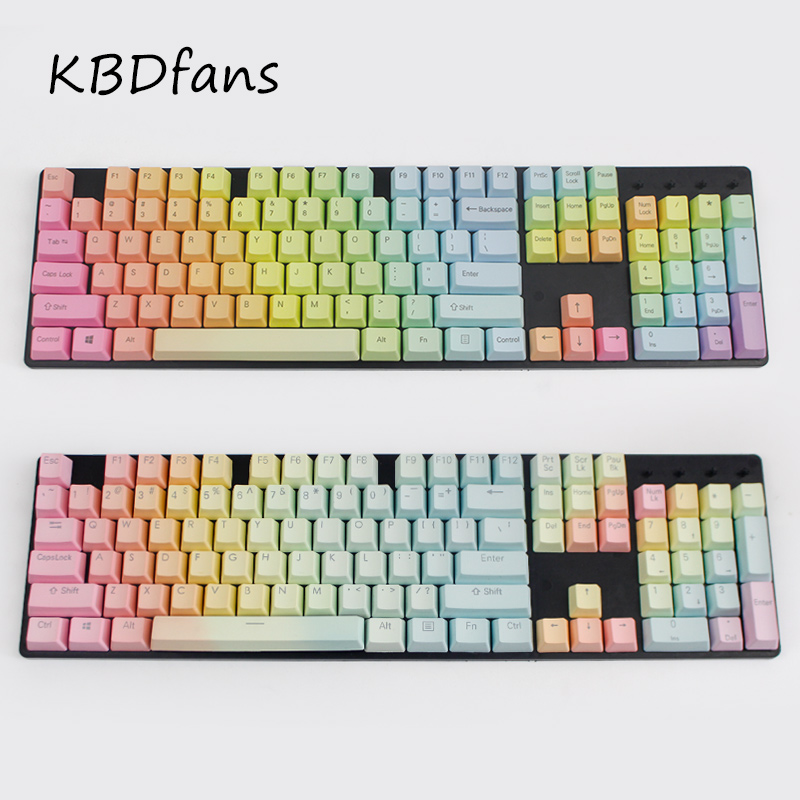 blank pbt keycaps side printed Backlit Doubleshot Rainbow Gradient PBT Keycap Set OEM profile keycaps for