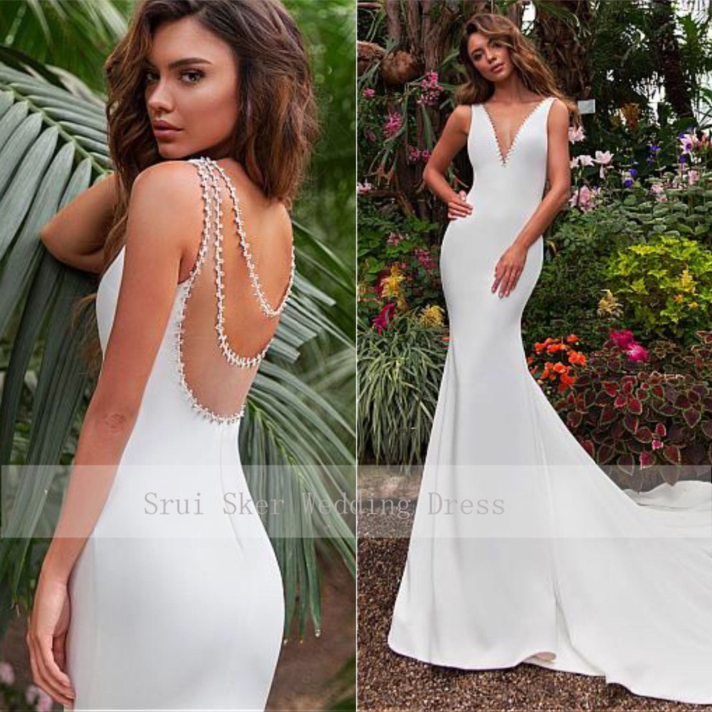 Stunning Tulle & Satin V neck Neckline Mermaid Wedding Dress With Beadings Illusion Back Court Train Bridal Robe De Mariage-in Wedding Dresses from Weddings & Events