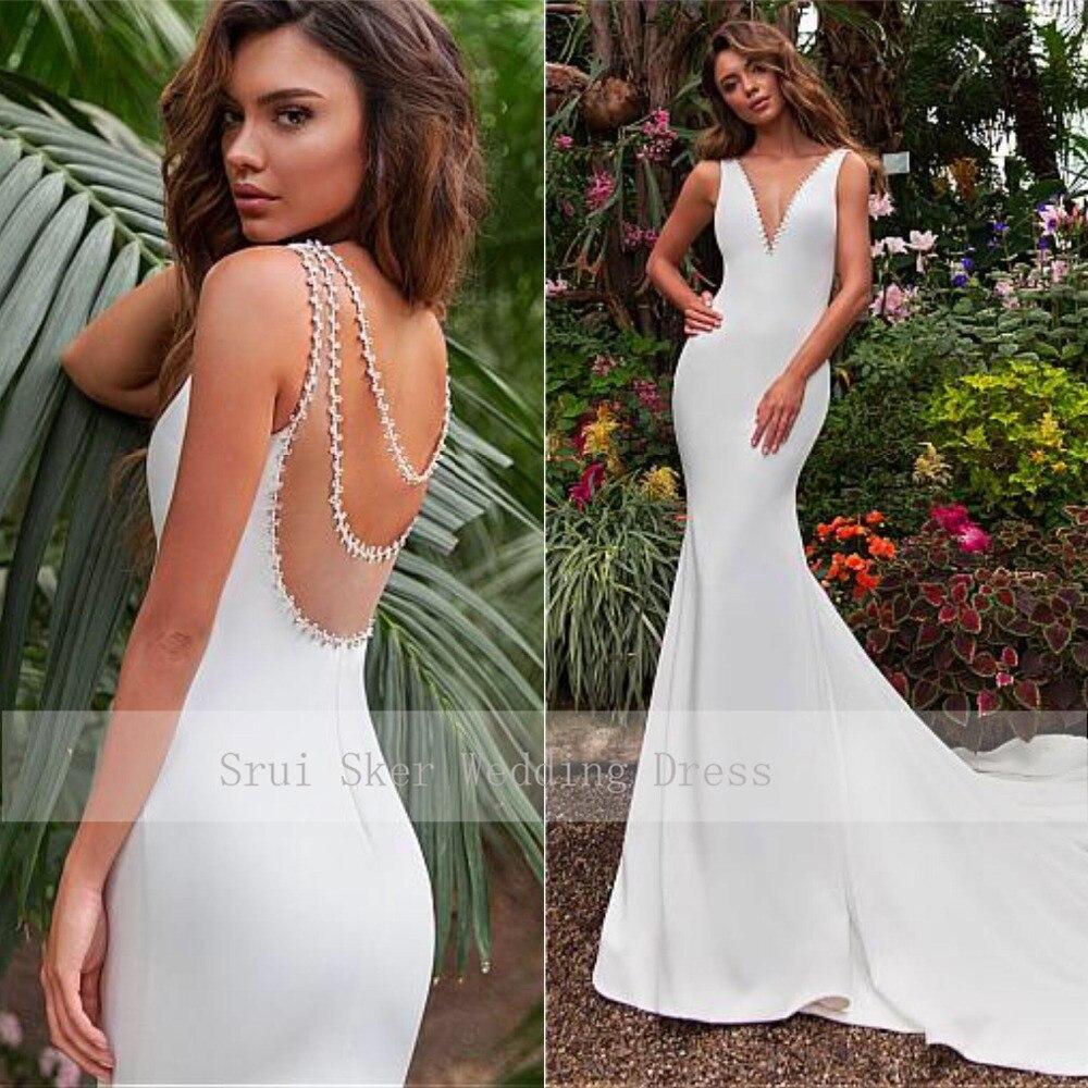 Stunning Tulle & Satin V-neck Neckline Mermaid Wedding Dress With Beadings Illusion Back Court Train Bridal Robe De Mariage