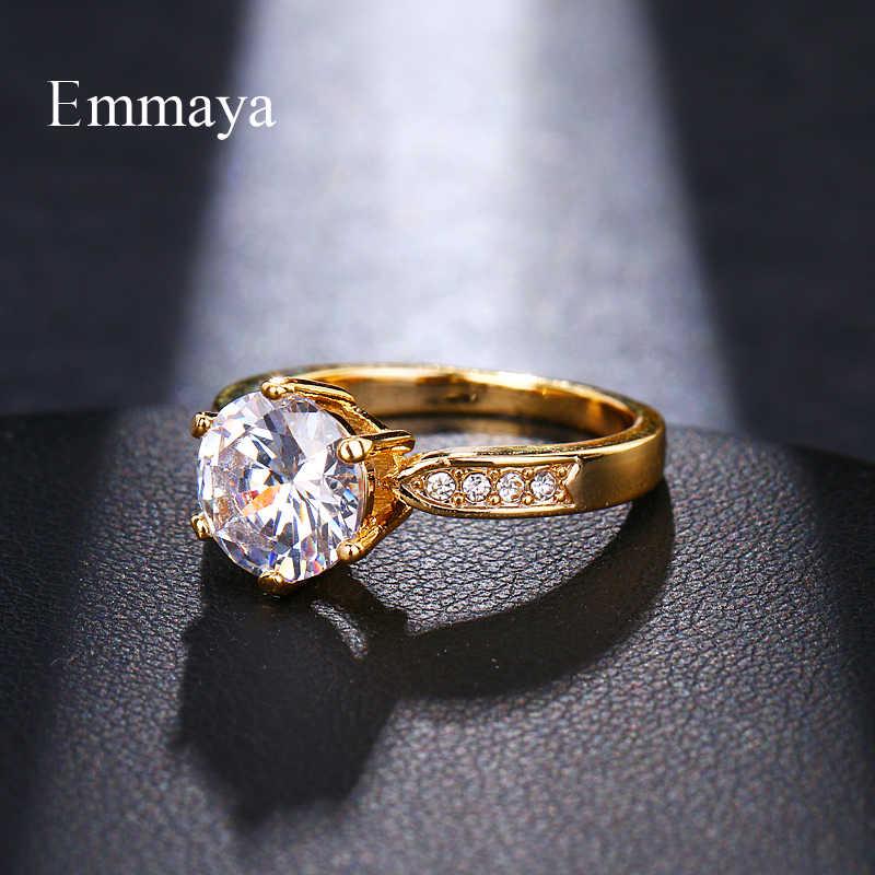 Emmaya AAA Zircon Engagement แหวน Rose gold สีแหวนหญิงออสเตรียคริสตัลเครื่องประดับคุณภาพสูง