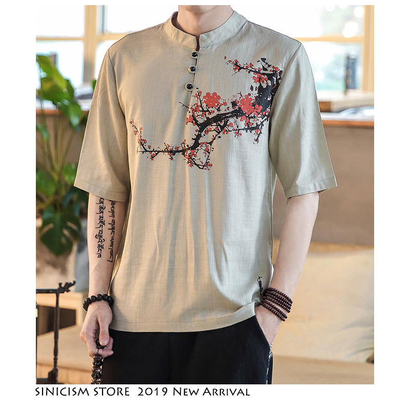 Sinicism Store Men Harajuku T Shirt 2019 Summer Mens Linen Button Tshirt Male Short Sleeve Chinese Style Black Tshirt 5XL