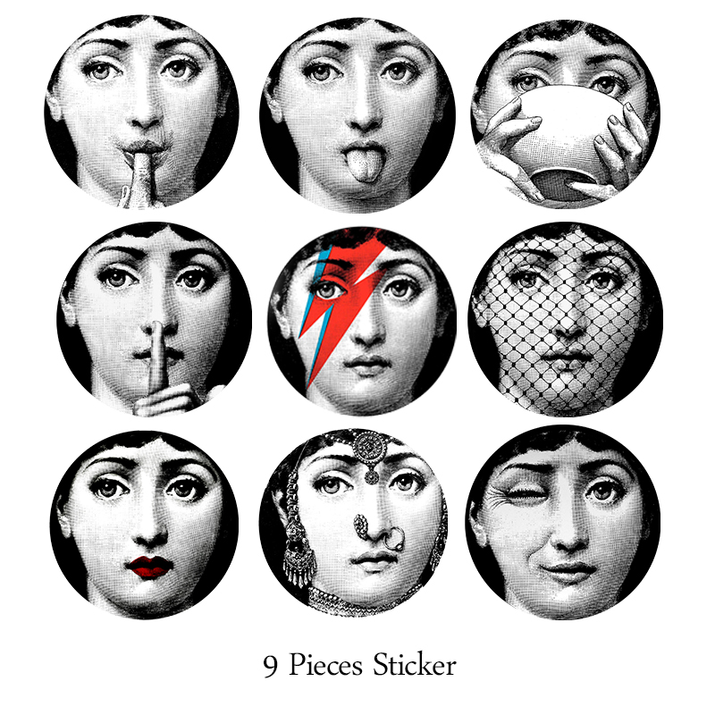 Milan Fornasetti Plates Stickers Wallpaper Separated Wall Stickers for DIY Classic Toilet Wardrobe Home Hotel Opaque Films