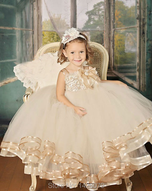 8c9e8c4475 2015 Cute vintage champagne pageant Flower Girl Dress floor- Length  Handmade floral Girl vestidos Party gown Ball for Baby