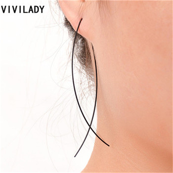 VIVILADY Hot Sales Gold Color Metal Wire Fish Shape Dangle Earrings For Female OL Femme Style Compelling Bijoux Accessory Gifts image