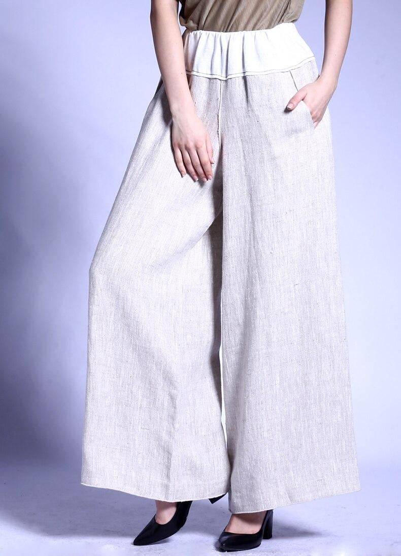 96f80d4158cbb7 € 144.59 |100% lin femme boutique de mode pantalon à jambes larges pantalon  pleine longueur beige pour automne printemps S36/M38/L40 dans Pantalons ...