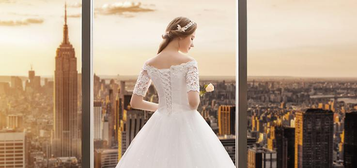 VENSANAC 2018 Crystal Sweetheart Sequined Ball Gown Wedding Dresses Lace Appliques Illusion Short Sleeve Bridal Gowns in Wedding Dresses from Weddings Events