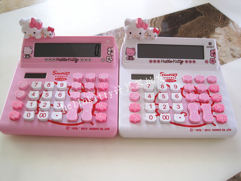 Hello kitty cartoon solar calculator pink KT cat doll cute computer KT-520A