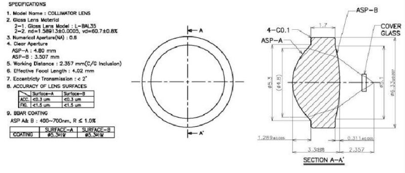 = 6.33mm fl = 4.02mm da lente