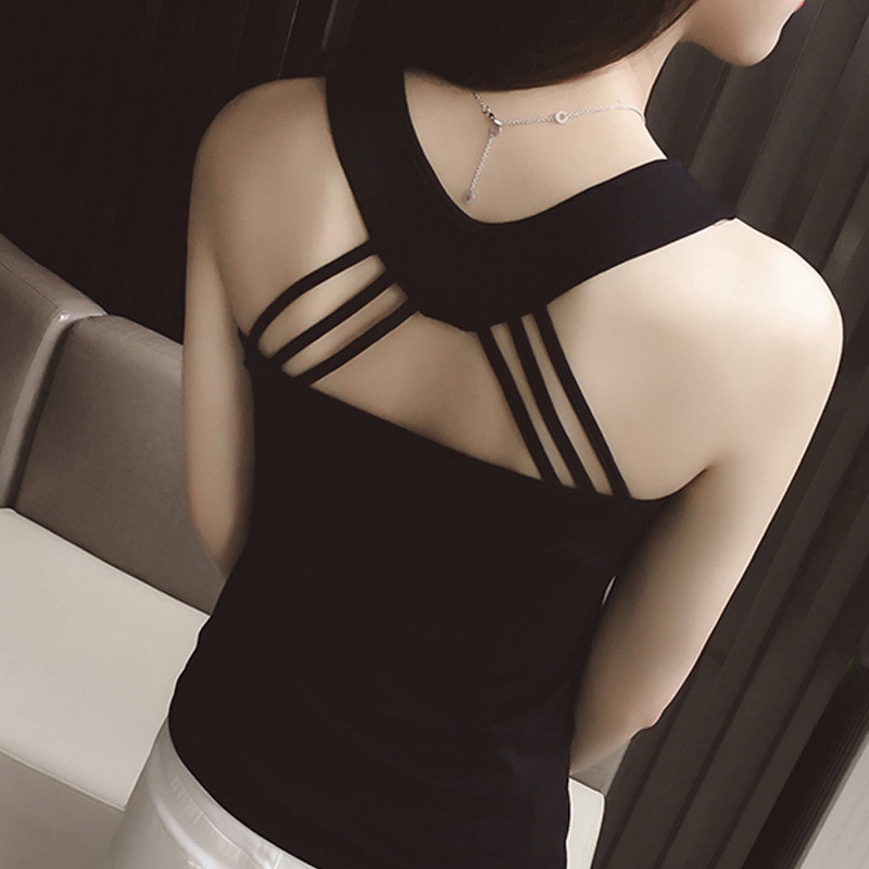 Women Summer Vest Strappy Back Hollow Out Sleeveless Slim Fit Casual Female Tops H9