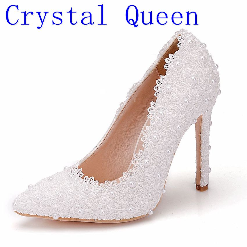 Crystal Queen Sweet Flower Women Pumps High Heels Lace