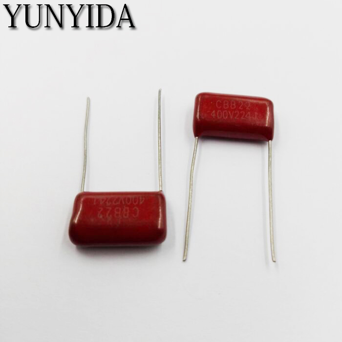 Free Shipping 10pcs, CBB 224J  400V  0.22UF 224NF P10mm  Metallized Film Capacitor   224  400V   400V224J