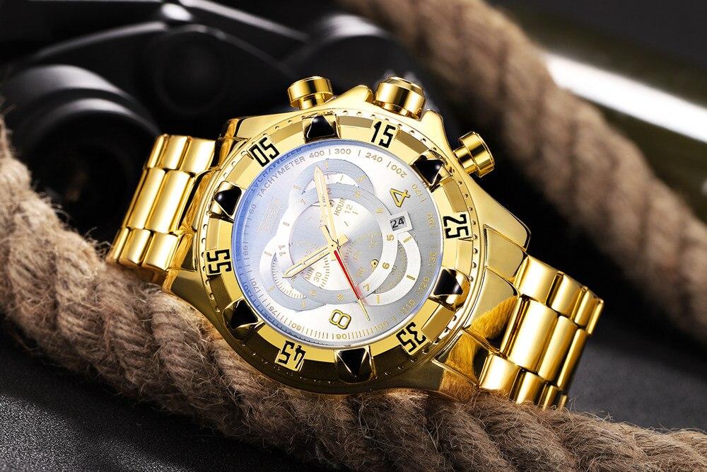 19 Top Brand Luxury Mens Oversize Watch Gold Business Steel Quartz Clock Waterproof Sport Military Chronograph Male Wristwatch 21