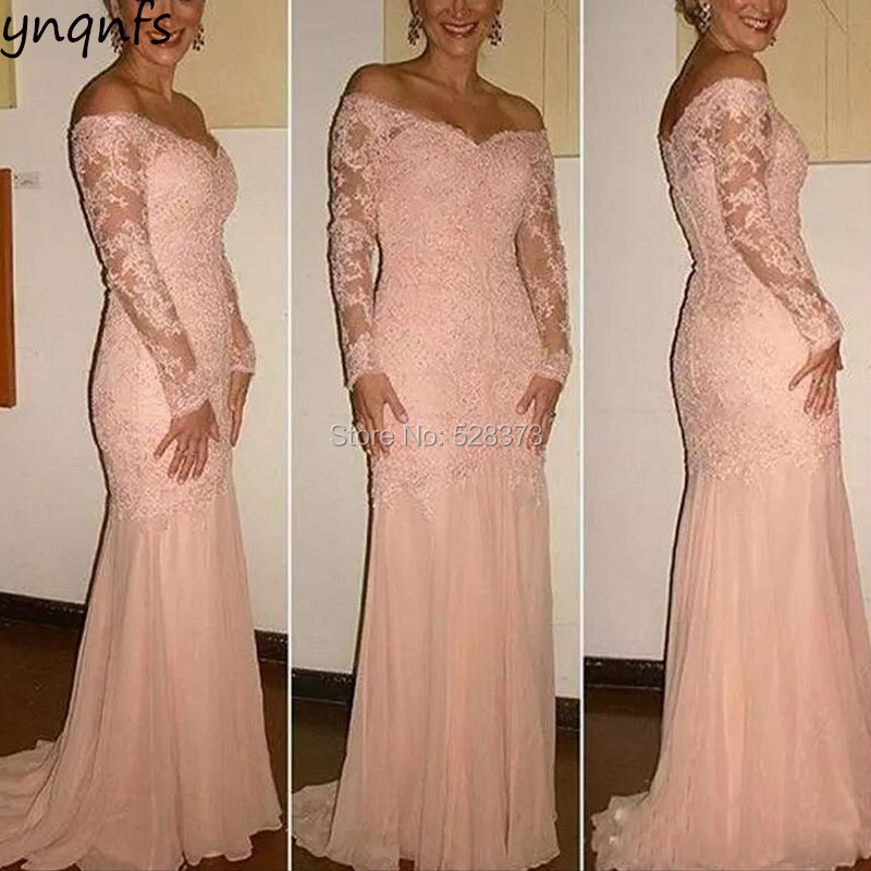 YNQNFS MD158 Real Ceremony Anniversary Gown Elegant Off Shoulder Mermaid Mother Of The Bride Dresses Long Sleeve 2019
