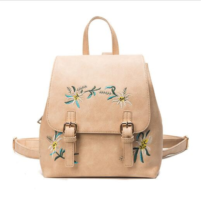 Dida Bear Brand Women Leather Backpacks Female School Bags For Girls Rucksack Small Floral Embroidery Flowers Bagpack Mochila #4