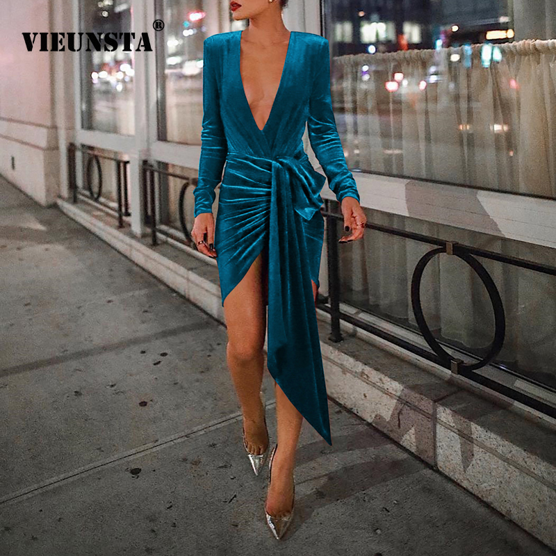 f0d03ca08408 VIEUNSTA 2XL Deep V-neck Cross Bandage Velvet Party Dress Women Long Sleeve  ...