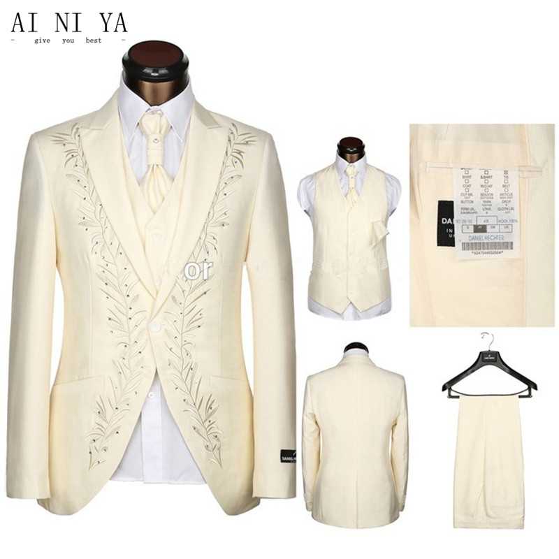 Men's Suit Dark Ivory Embroidery Wedding Groom Tuxedos Business Formal Best Man Suit Custom Size Coat + Pants + Vest, Tie